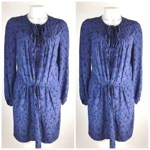 Rebecca Taylor Silk Ruffle Detail Shirt Dress